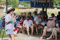 Annual Democratic picnic on Sunday held at Rock Creek Park-2018. Jill Humble, candidate for Secretary of State speaks to picnic attendees.